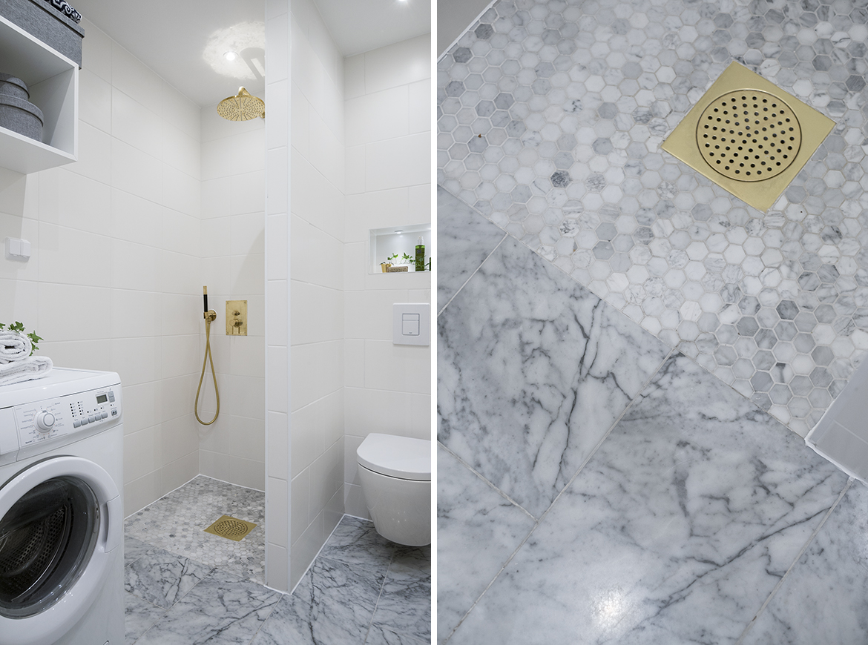 Inredningshjälpen: lägenhet med fina detaljer av marmor och mässing