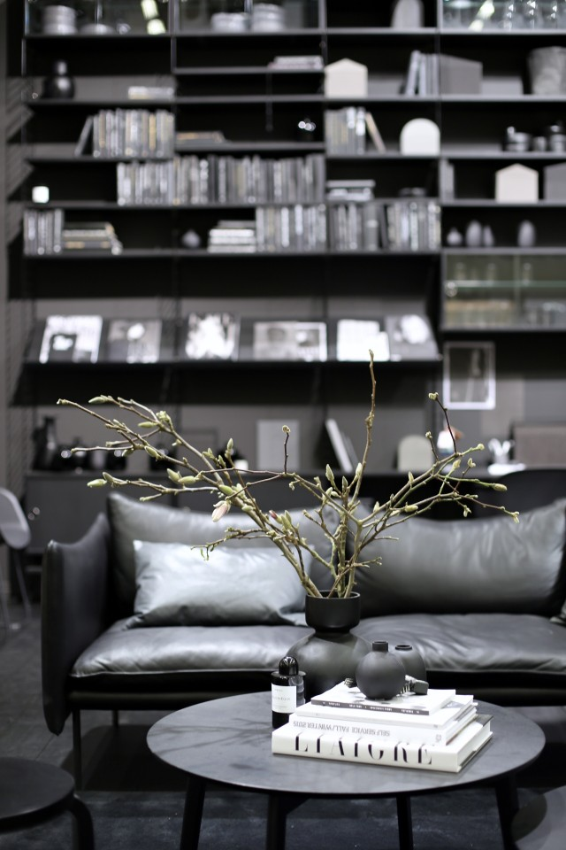 String's all-black shelving system at Stockholm Furniture & Light Fair, via http://www.scandinavianlovesong.com/