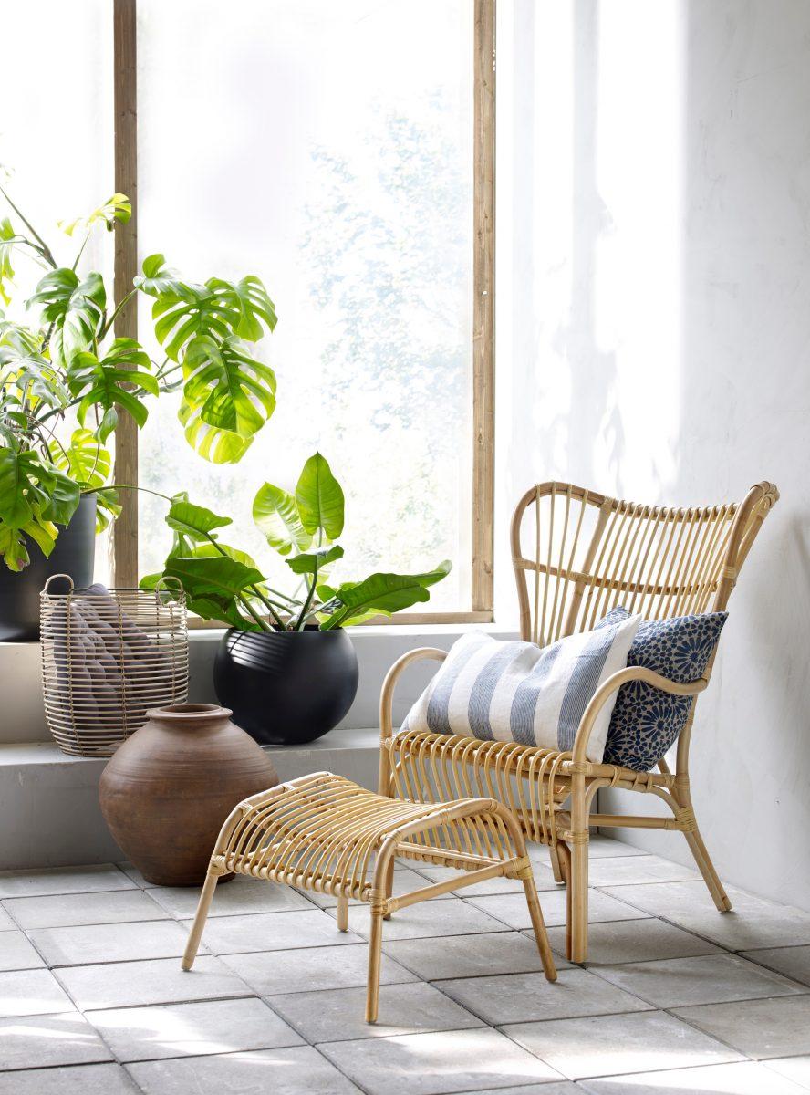 Fina rottingmöbler och härliga textilier