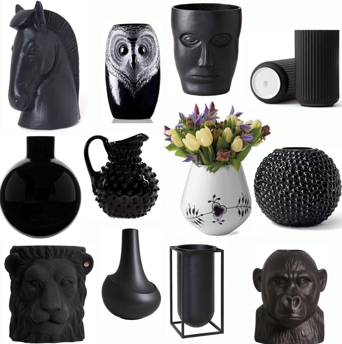 Trendiga svarta vaser & krukor
